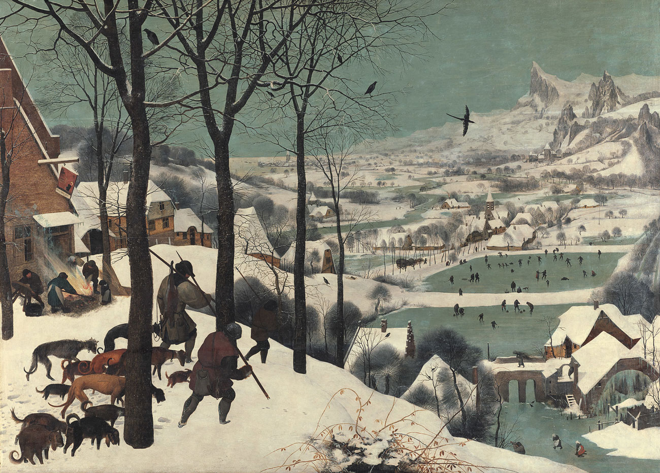 A snowy winter scene showing hunters with dogs in the foreground and peasants in various outdoor activities like skating and preparing food.
