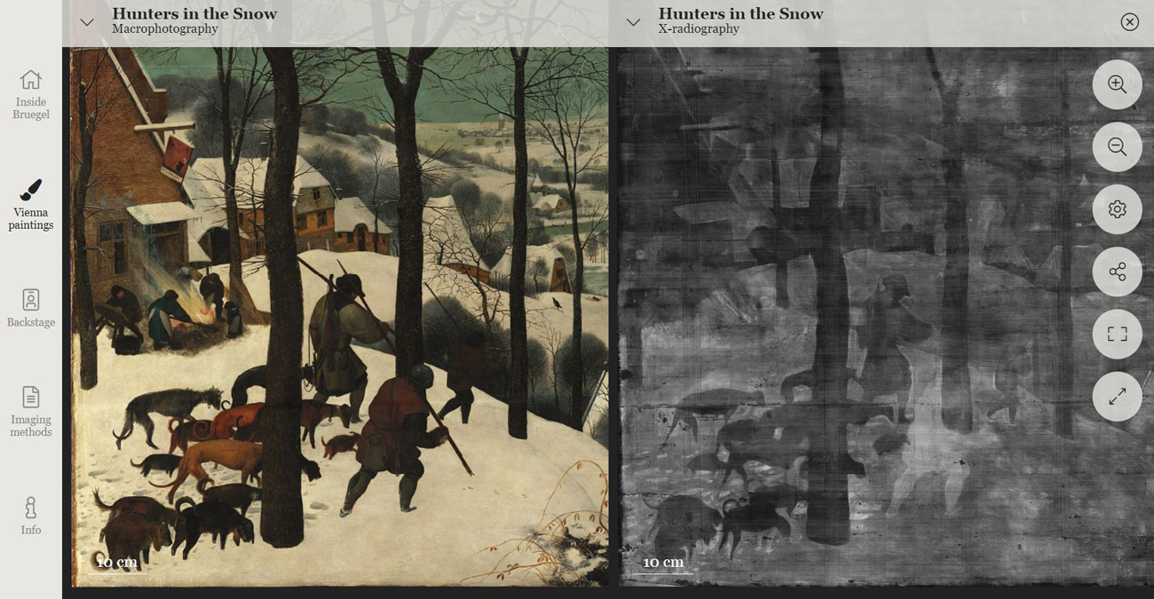 In the software interface, two side-by side images of the same painting. A detail of the painting on the left and a black and white x-ray on the right.