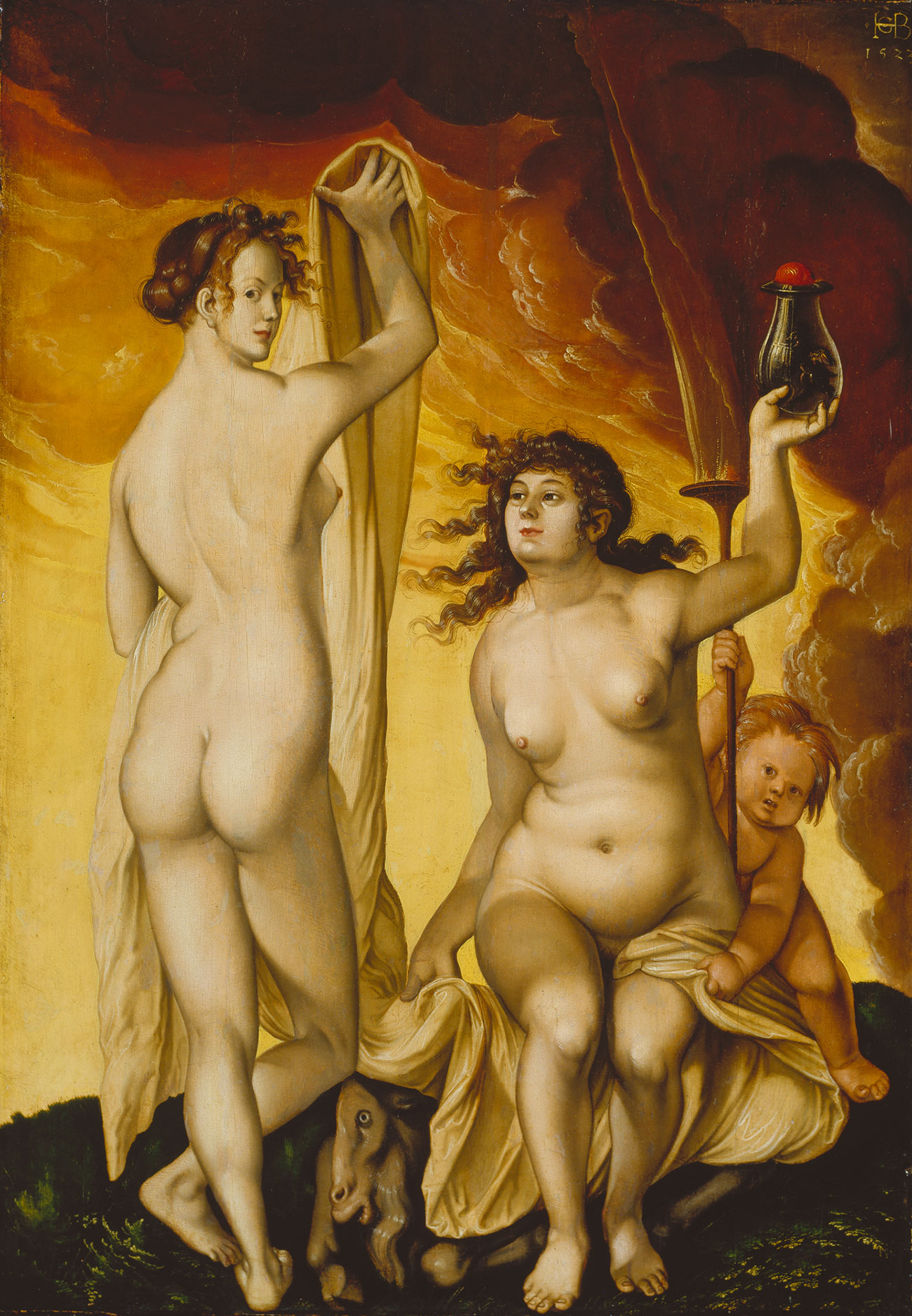 Two nude women stand in front of a roaring fire, the one on the left looks defiantly at the viewer.