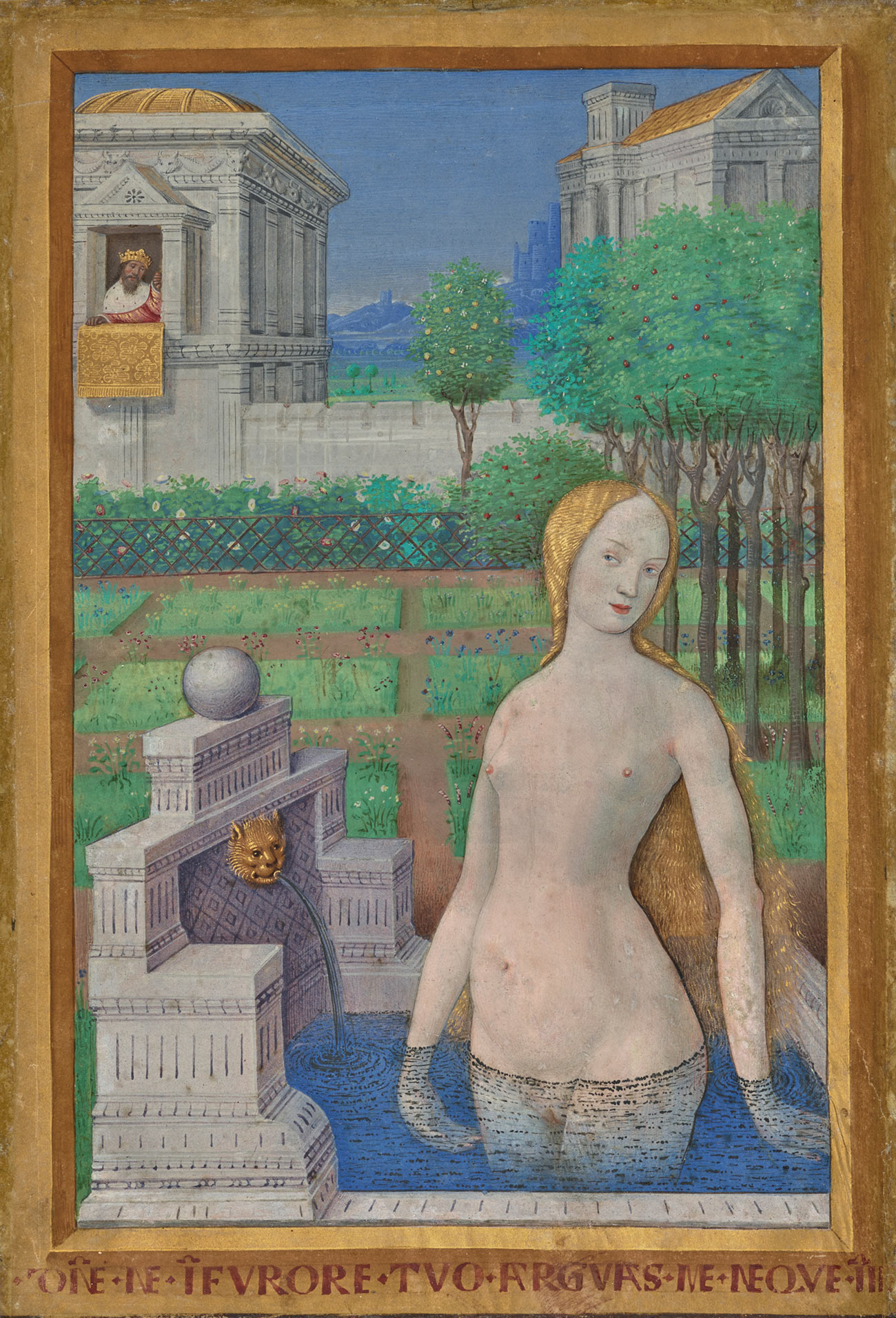Manuscript illumination of a naked woman in a bath up to her pubic area, thinly covered by a diaphanous veil