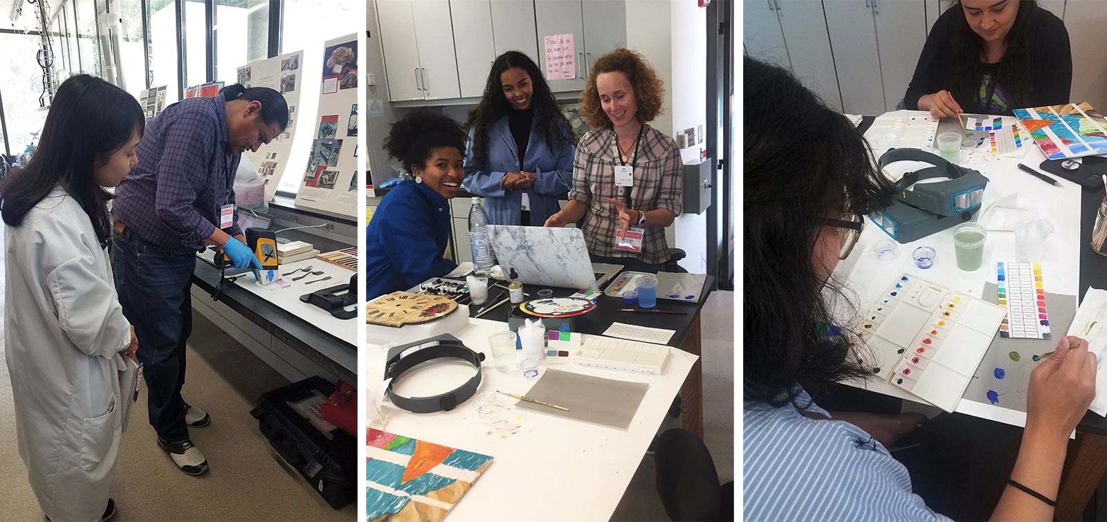 Three different images, each showing students learning different conservation techniques in the lab.