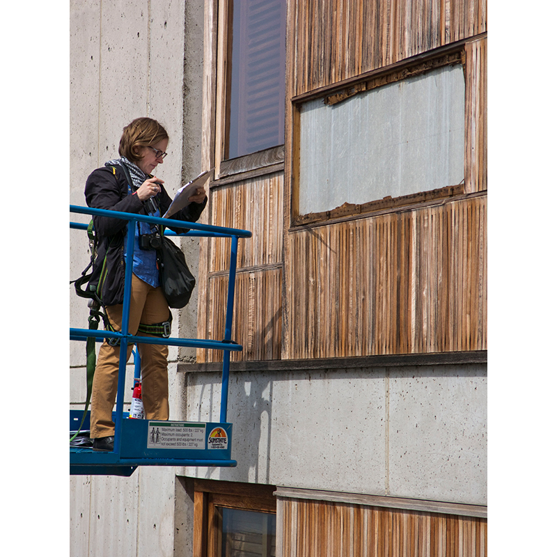 GCI staff investigates failure of the vertical siding boards and furring strips following a storm in February 2014.