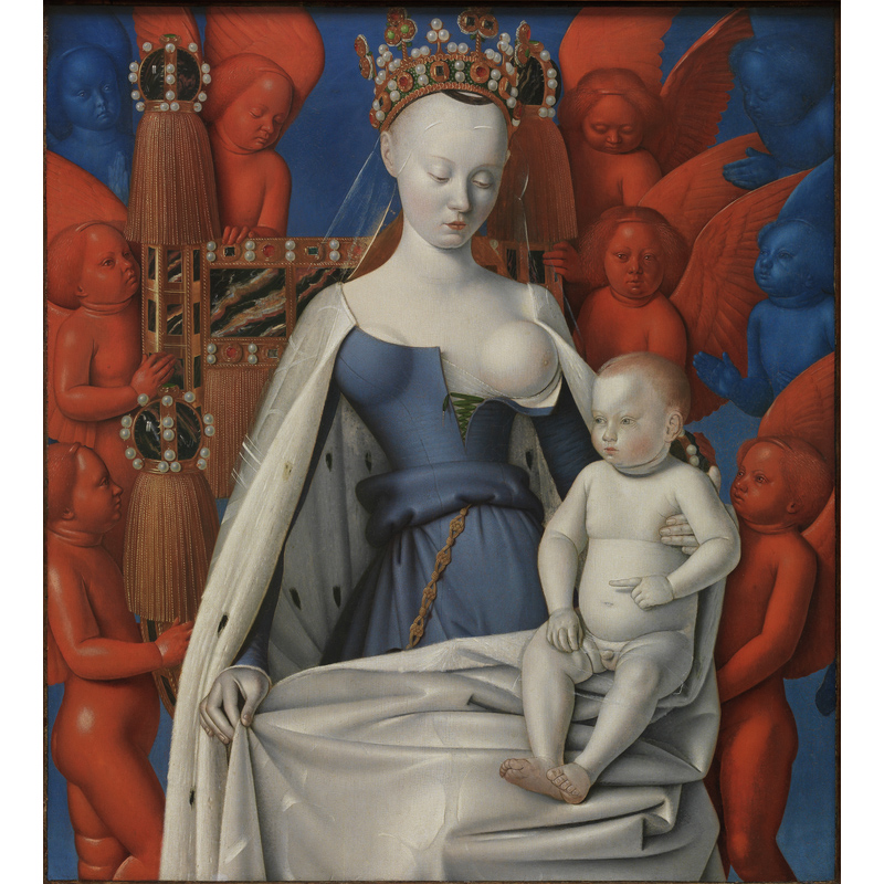 <em/>Virgin and Child, about 1452-55, Jean Fouquet. Oil on oak panel, 36 1/4 x 32 7/8 in.  Koninklijk Museum voor Schone Kunsten, Antwerpen.  Image: © www.lukasweb.be - Art in Flanders vzw. Photo: Dominique Provost