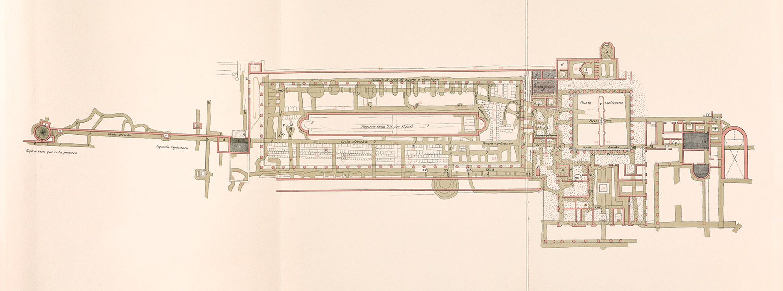 A sepia-toned, detailed architectural plan of a Roman villa and its gardens