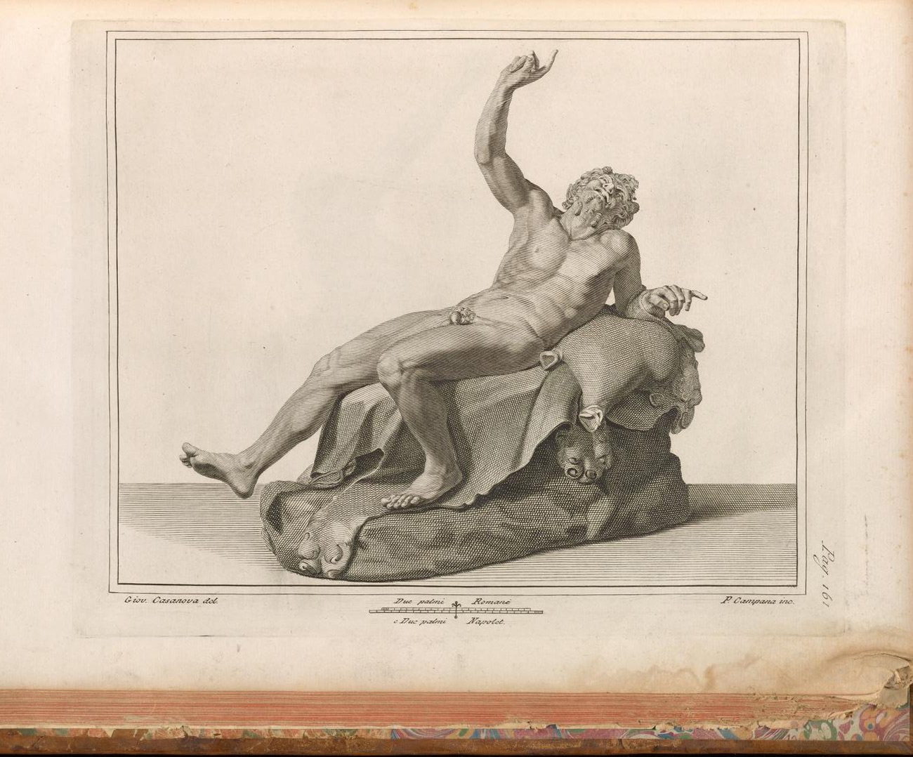 Engraved front view of the Drunken Satyr from the front as he looked soon after being discovered