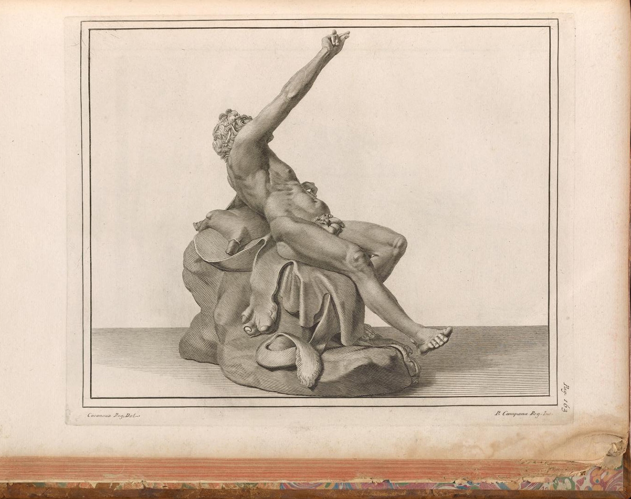 Engraved rear view of the Drunken Satyr from the front as he looked soon after being discovered