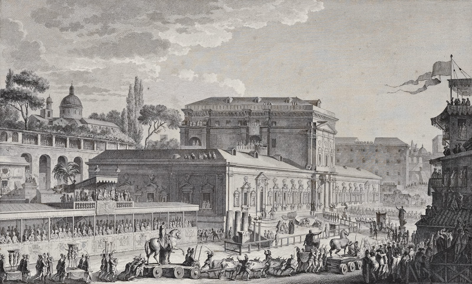 Detailed engraving of an Italian cityscape with a parade of cultural heritage treasures proceeding to the right, toward a palatial museum