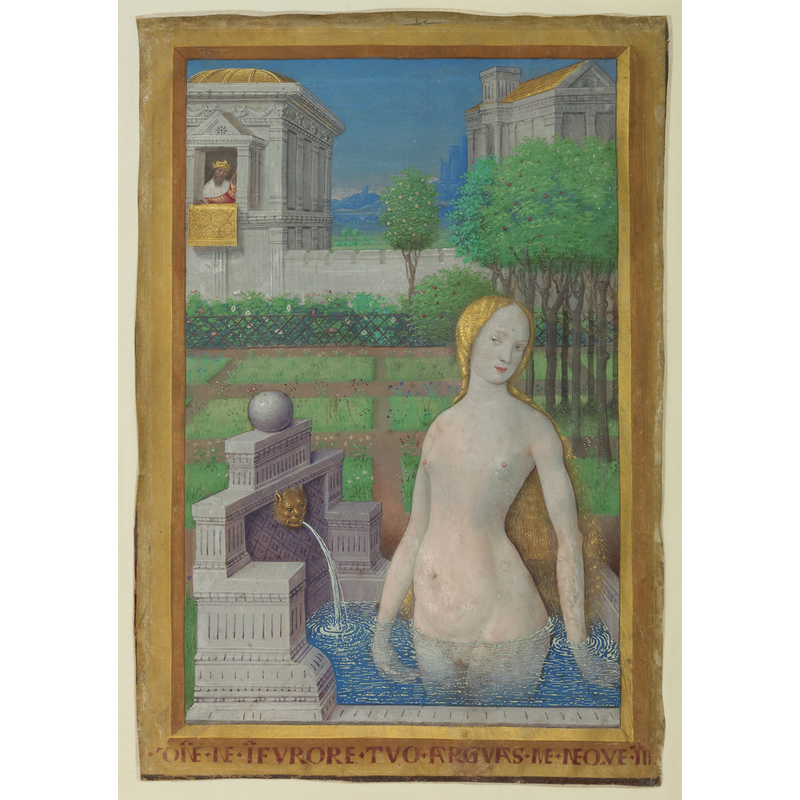<em/>Bathing Bathsheba, leaf from the Hours of Louis XII, about 1498, Jean Bourdichon. Tempera colors and gold paint on vellum, 9 9/16 × 6 11/16 in. The J. Paul Getty Museum, Ms. 79, recto (2003.105.recto)