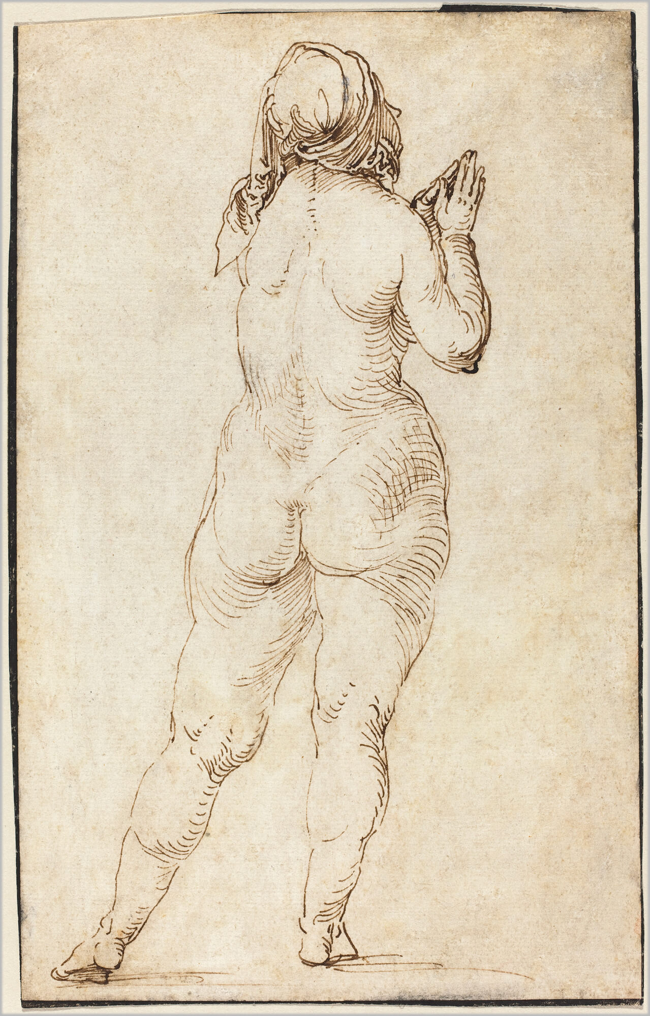 Drawing of back of nude woman praying