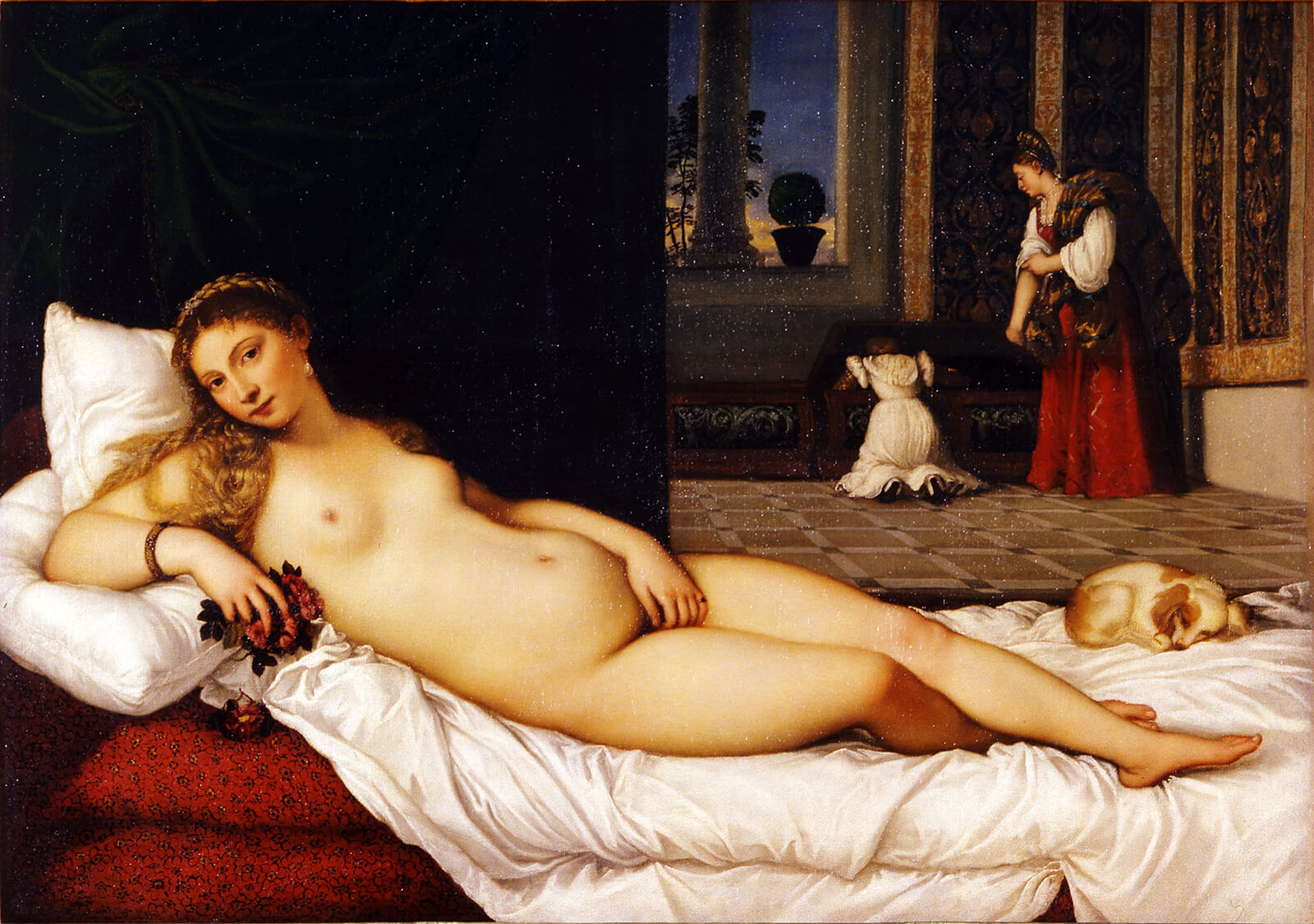 A nude Venus lounges on pillows, beside a sleeping dog, with two women in the background.
