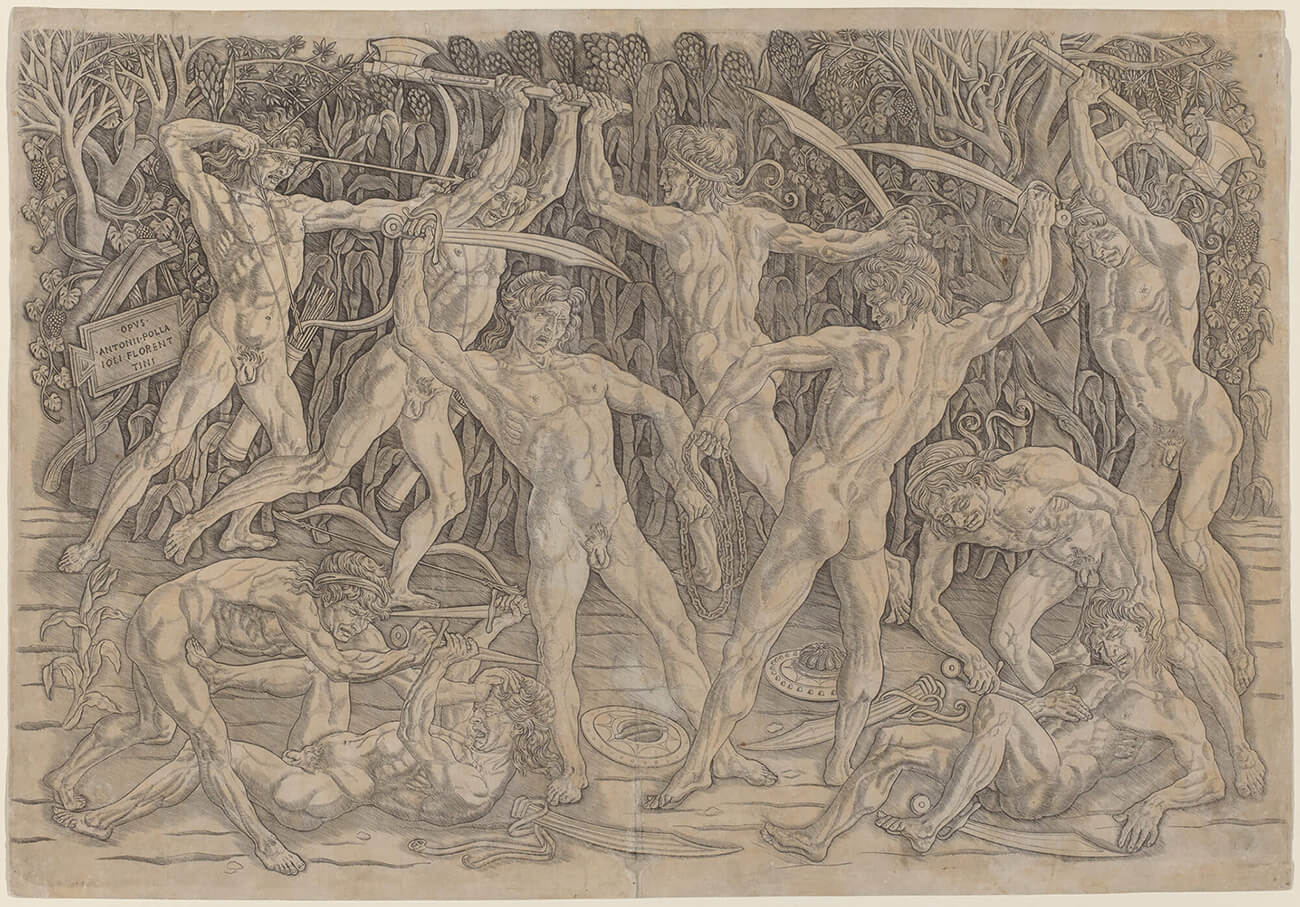 Engraving of ten nude men killing each other with swords and axes.