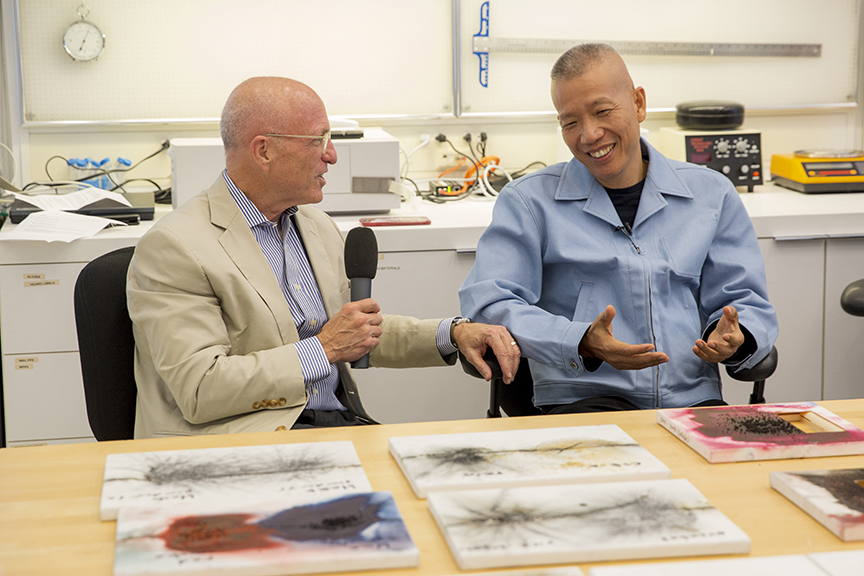 Jim Cuno and Cai Guo-Qiang in a GCI Conservation lab