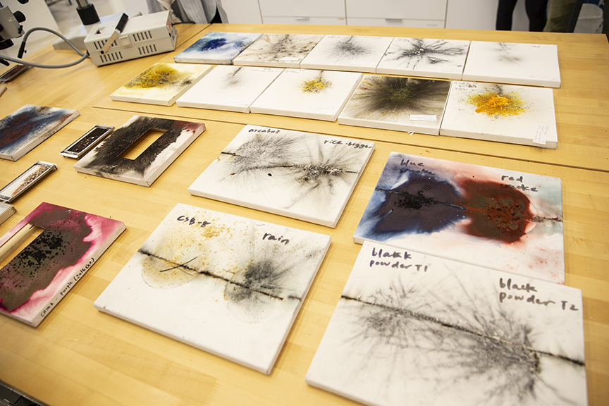Samples of Cai Guo-Qiang's artworks used by the conservation team