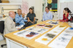 Inside a GCI Conservation Lab. From left: Jim Cuno, Cai Guo-Qiang, Rachel Rivenc, Tom Learner, and Sang Luo