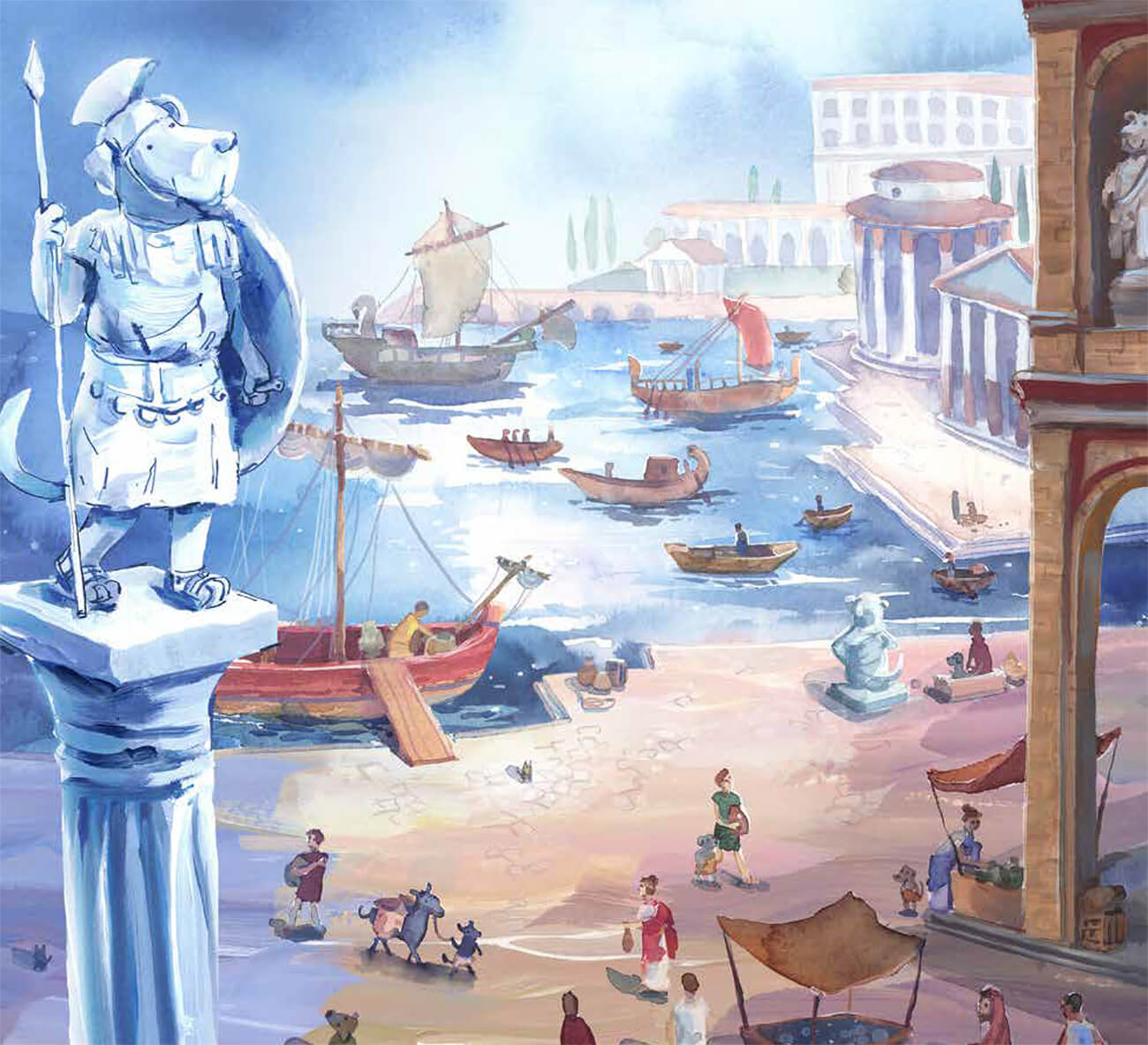 Illustration of an ancient Roman seaport, featuring a pillar of a centurion dog.