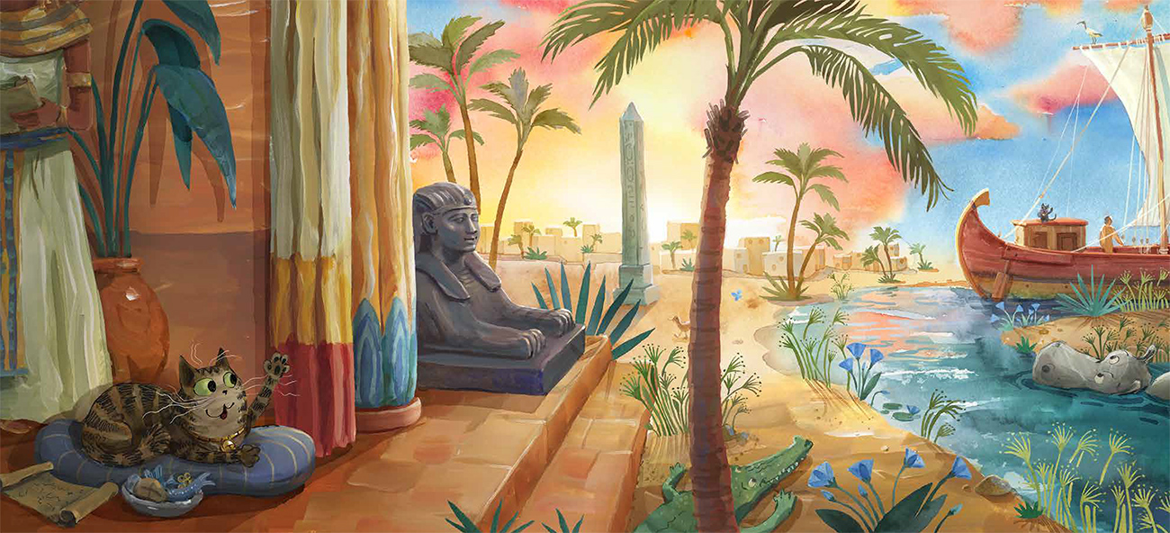 Colorful illustration of cat on terrace overlooking the Nile, showing a sphinx, obelisk, and sailing ship.