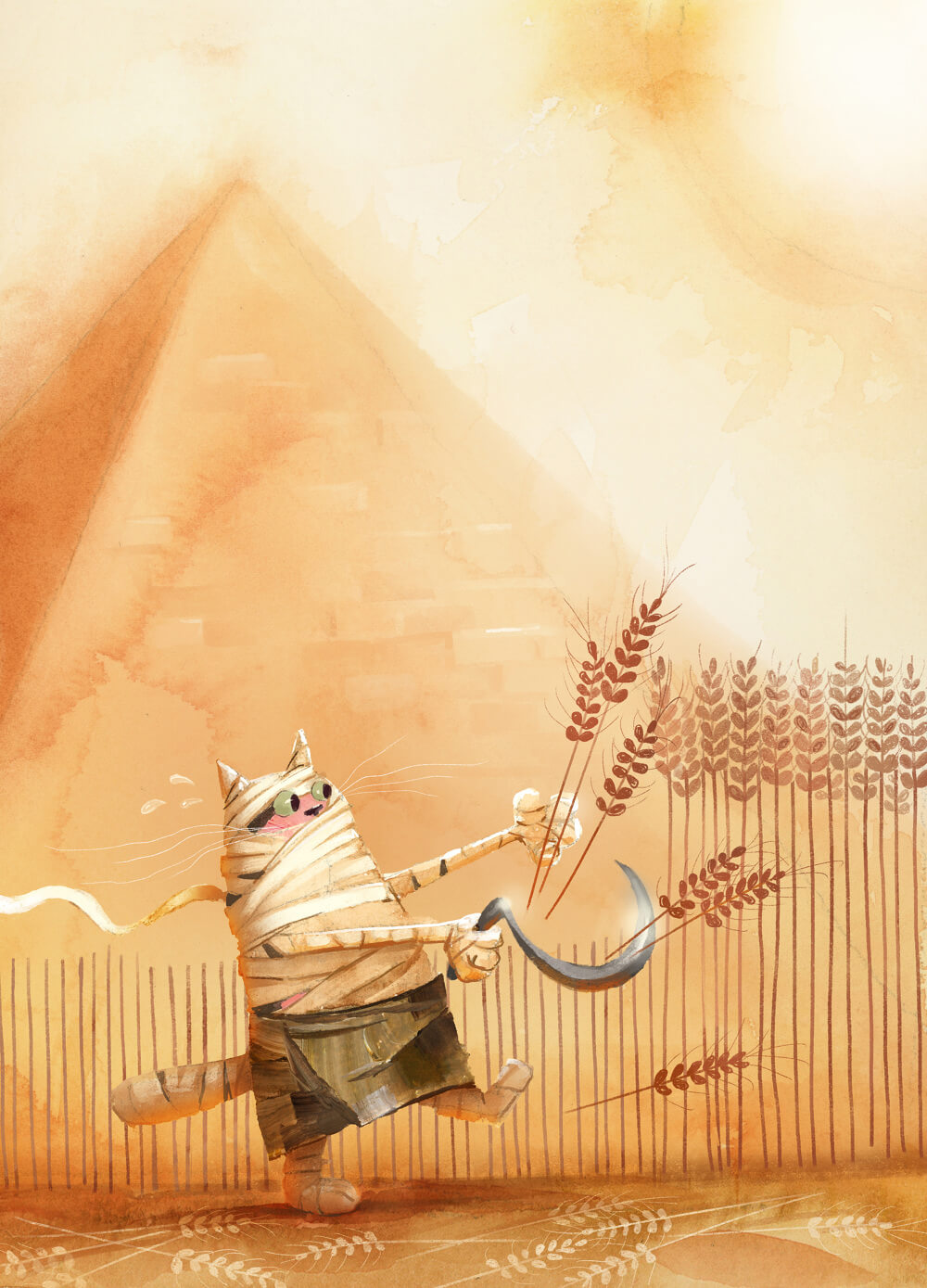 Illustration of mummy cat near a pyramid.