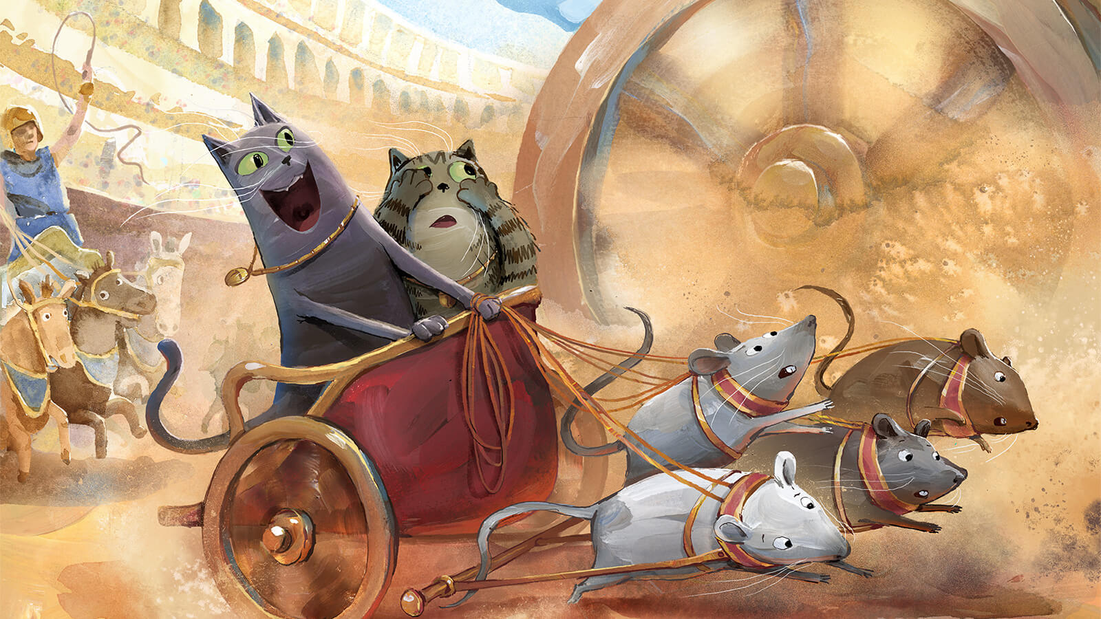 Two cats in a chariot pulled by mice.
