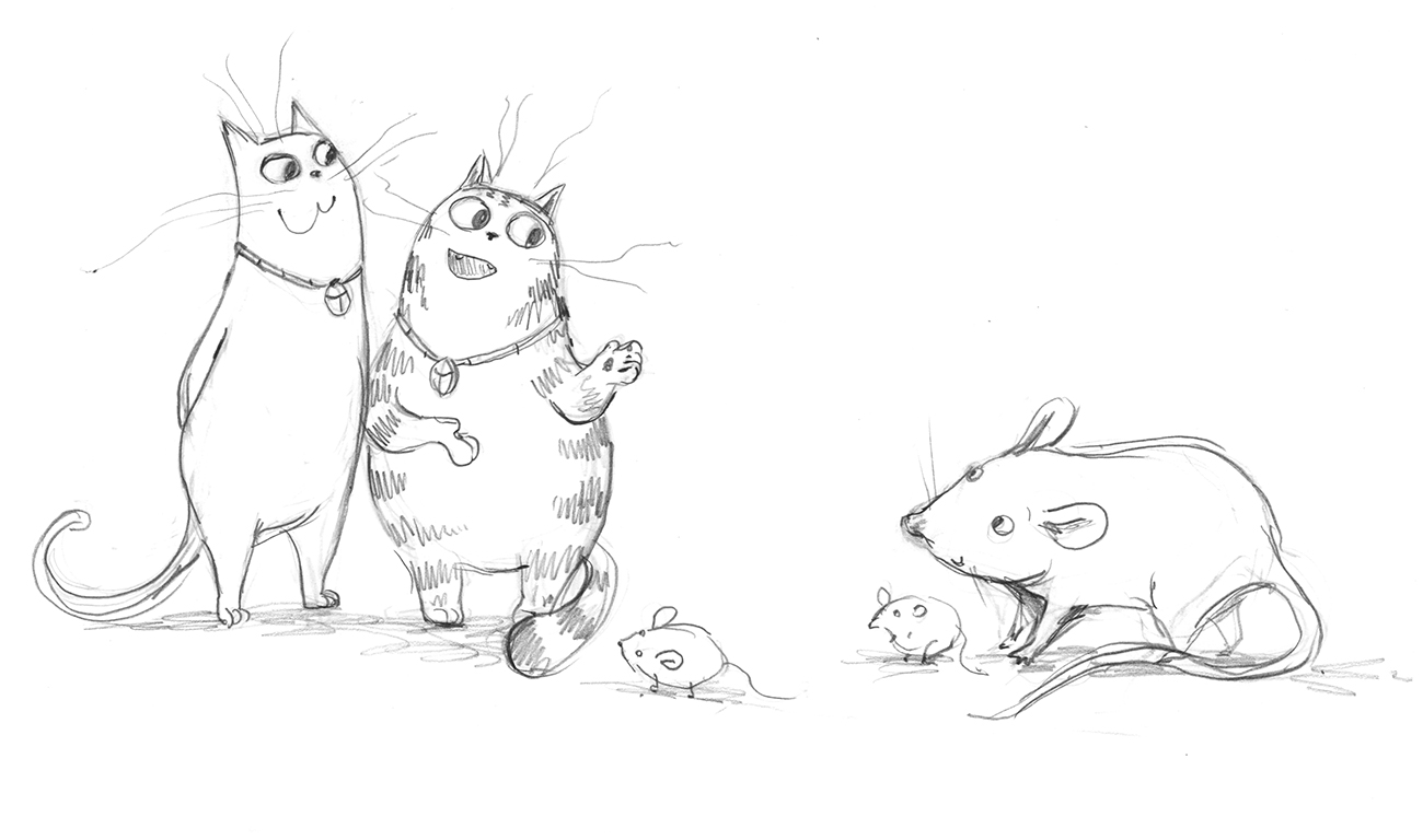 Sketch of two cats with an adult mouse and two baby mice.