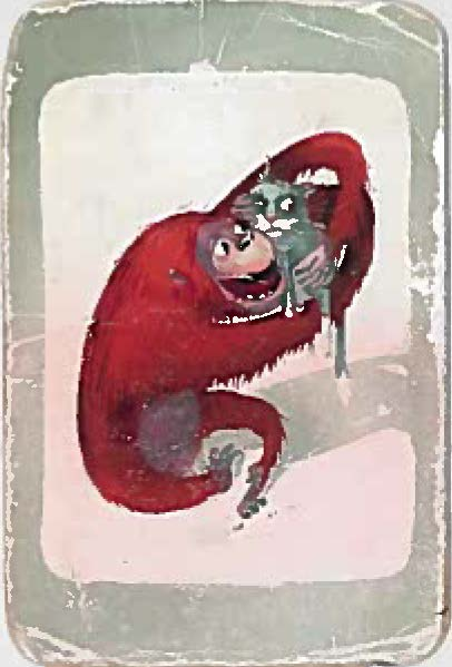 Illustration of an orangutan hugging a cat.