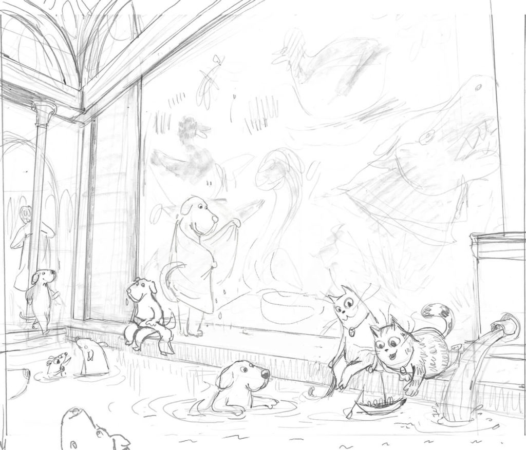 Sketch of cats, dogs and a mouse in a Roman bath.