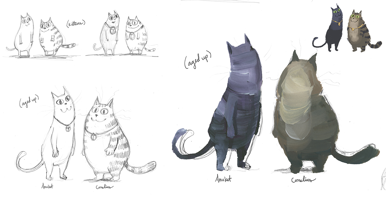 At left are black and white illustrations of a slender cat (Cleo) and a chubby cat (Cornelius), at right are painted sketches of the two cats, Cleo in shades of dark gray and Cornelius in shades of brown and gray.