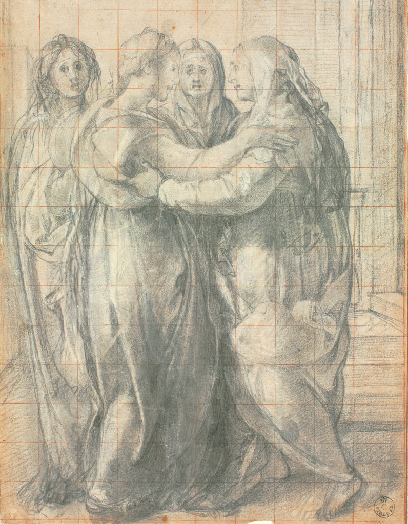 A sketched drawing of four women in togas greeting each other.