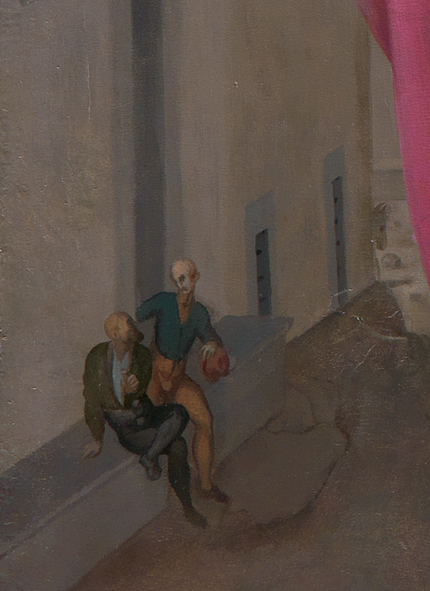 Two men sitting on a street bench. The head of a donkey peeks around a nearby corner.