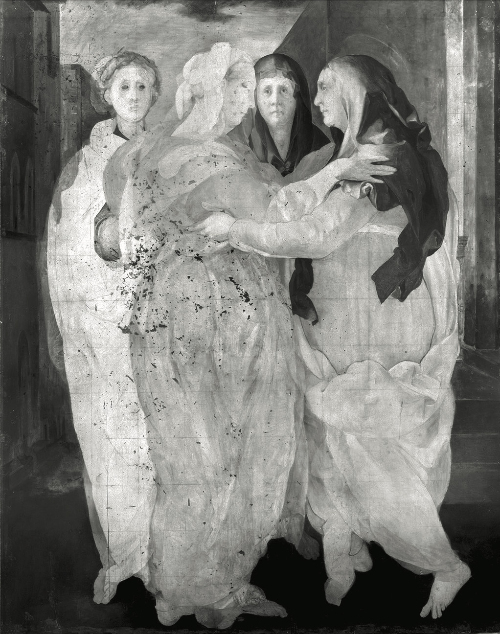 Infrared (black and white) image of four women in togas greeting one another. A halo is visible above the head of the woman on the right.