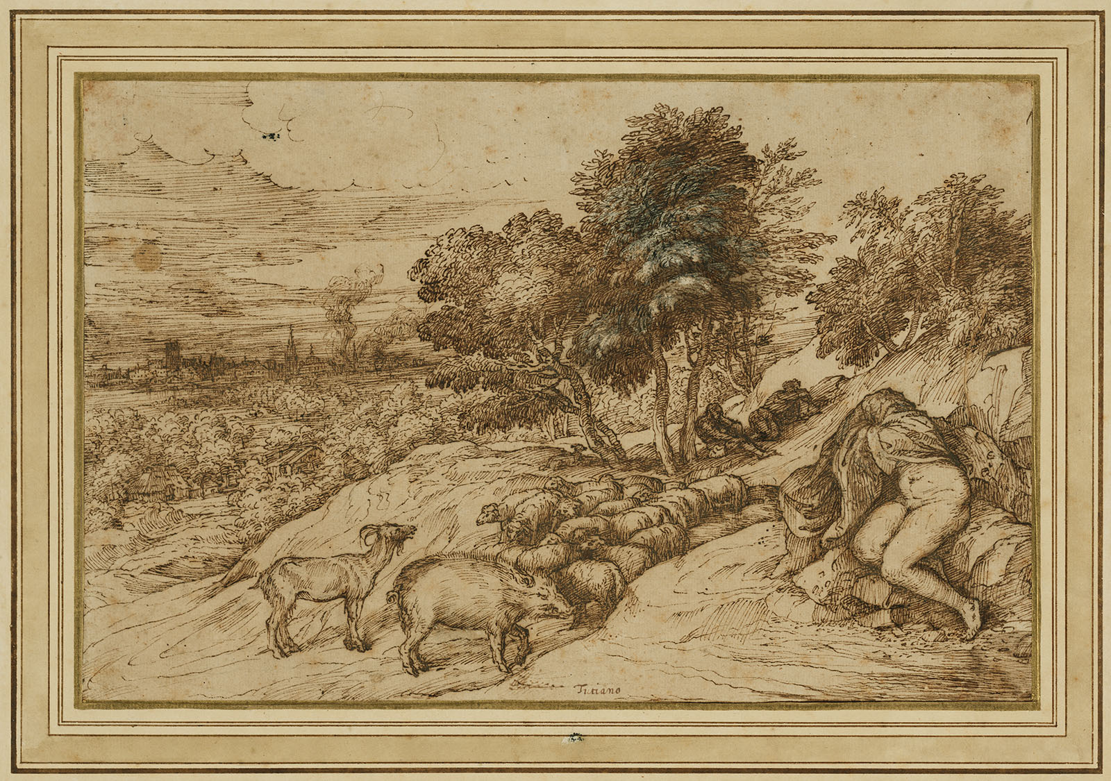 A hillside overlooking a distant town. A nude person sits on a rock with a blanket over their head and torso. Beside them is a herd of sheep, a boar, and a goat. Two people lie in the shade of several trees just beyond.