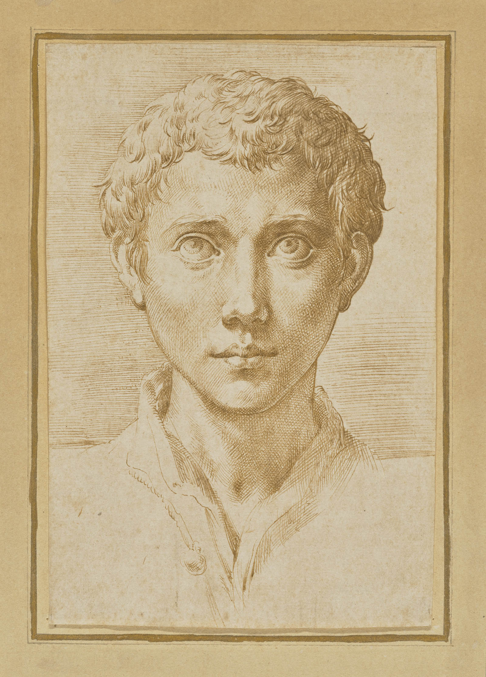 Sketch of a young man with short wavy hair and an open collared shirt
