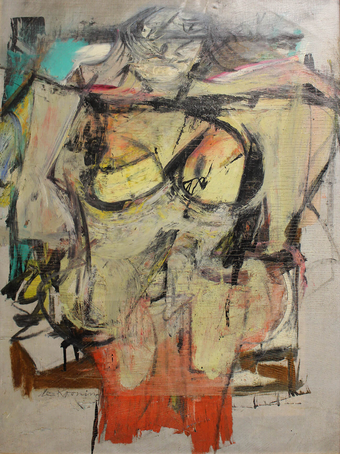 Abstract painting featuring dark outlines and colors of soft gold, turquoise, and coral. Willem de Kooning, Woman-Ochre, 1955. Oil on canvas, 30 x 40 in. Copyright 2019 The Willem de Kooning Foundation / Artists Rights Society (ARS), New York