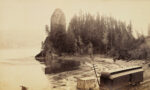 Rooster Rock, Columbia River, about 1883, Carleton Watkins. Albumen silver print, 4 3/4 × 8 1/16 in. The J. Paul Getty Museum, 92.XM.99.8. Digital image courtesy of the Getty's Open Content Program