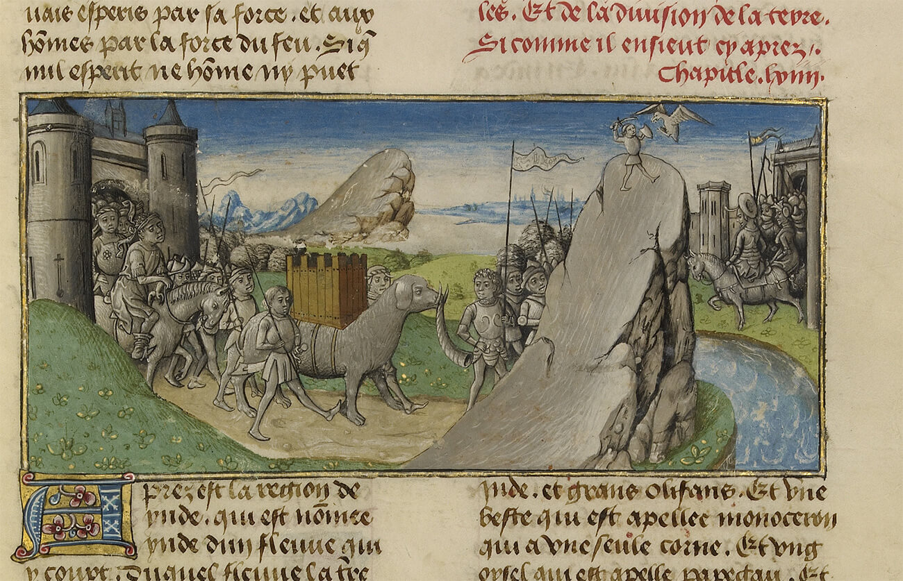 Illustration of gray people and animals parading out of two gray castles, one to the left and one on the right, with a river between them.