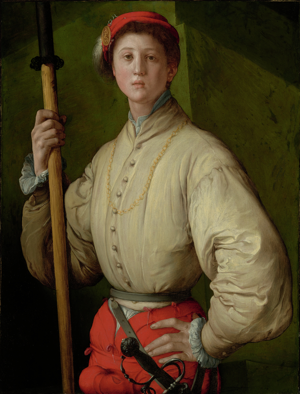 <em/>Portrait of a Halberdier (Francesco Guardi?) , about 1529–1530, Pontormo (Jacopo Carucci). Oil on canvas (transferred from wood panel), 37 1/2 × 28 3/4 in. The J. Paul Getty Museum, 89.PA.49. Digital image courtesy of the Getty's Open Content Program