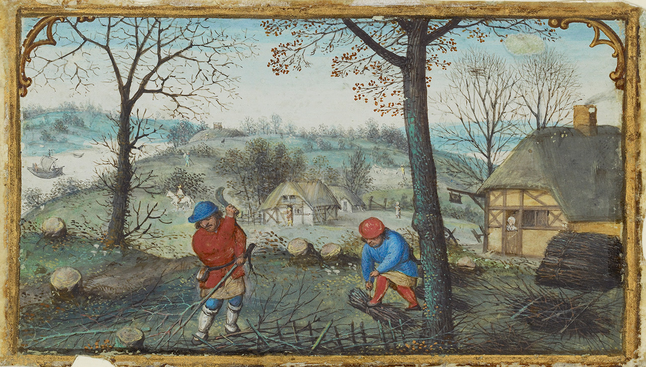 A detailed painting from a handmade book featuring two men in a forest bundling twigs.