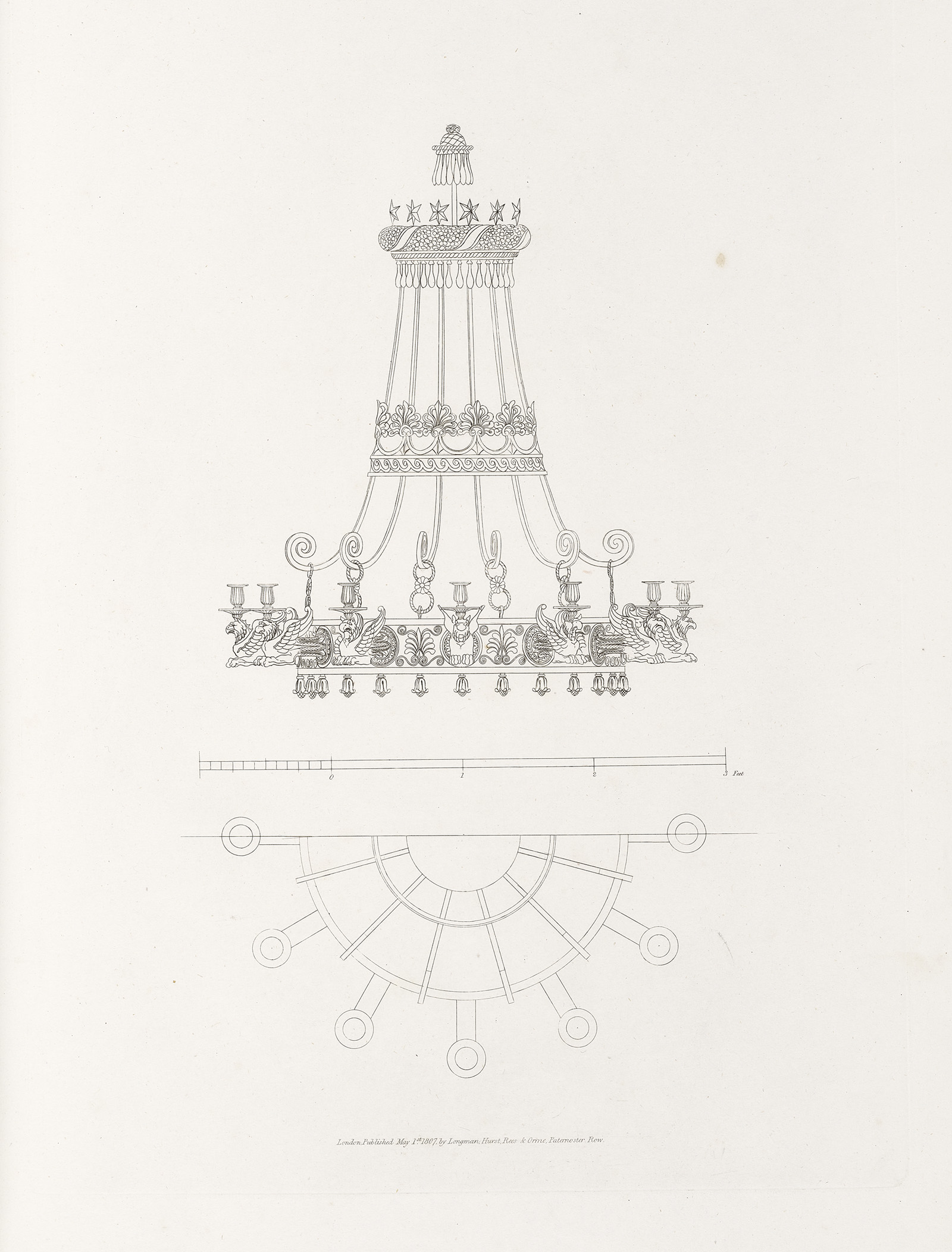 Sketch of a chandelier.