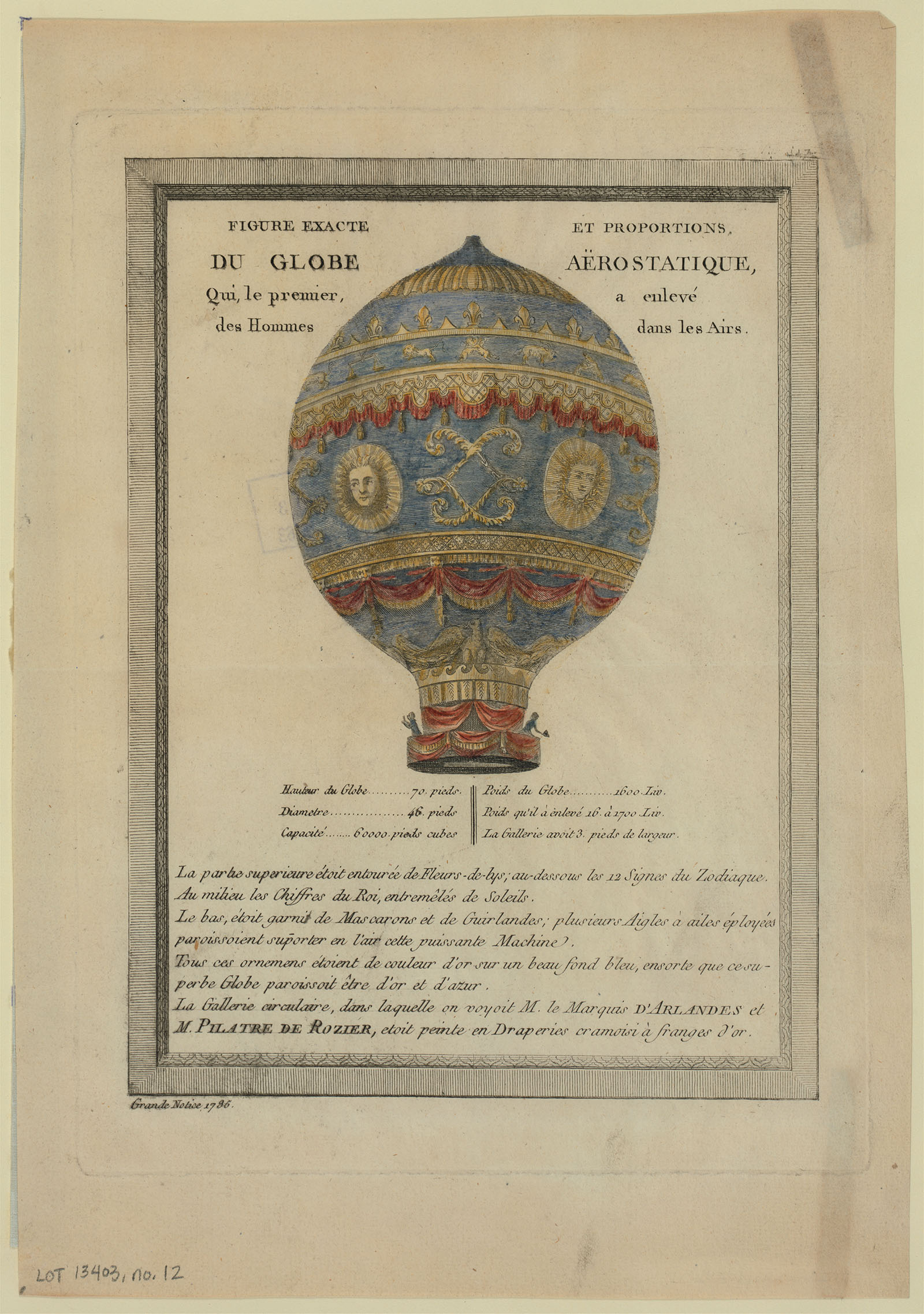 Print of an early hot air balloon.