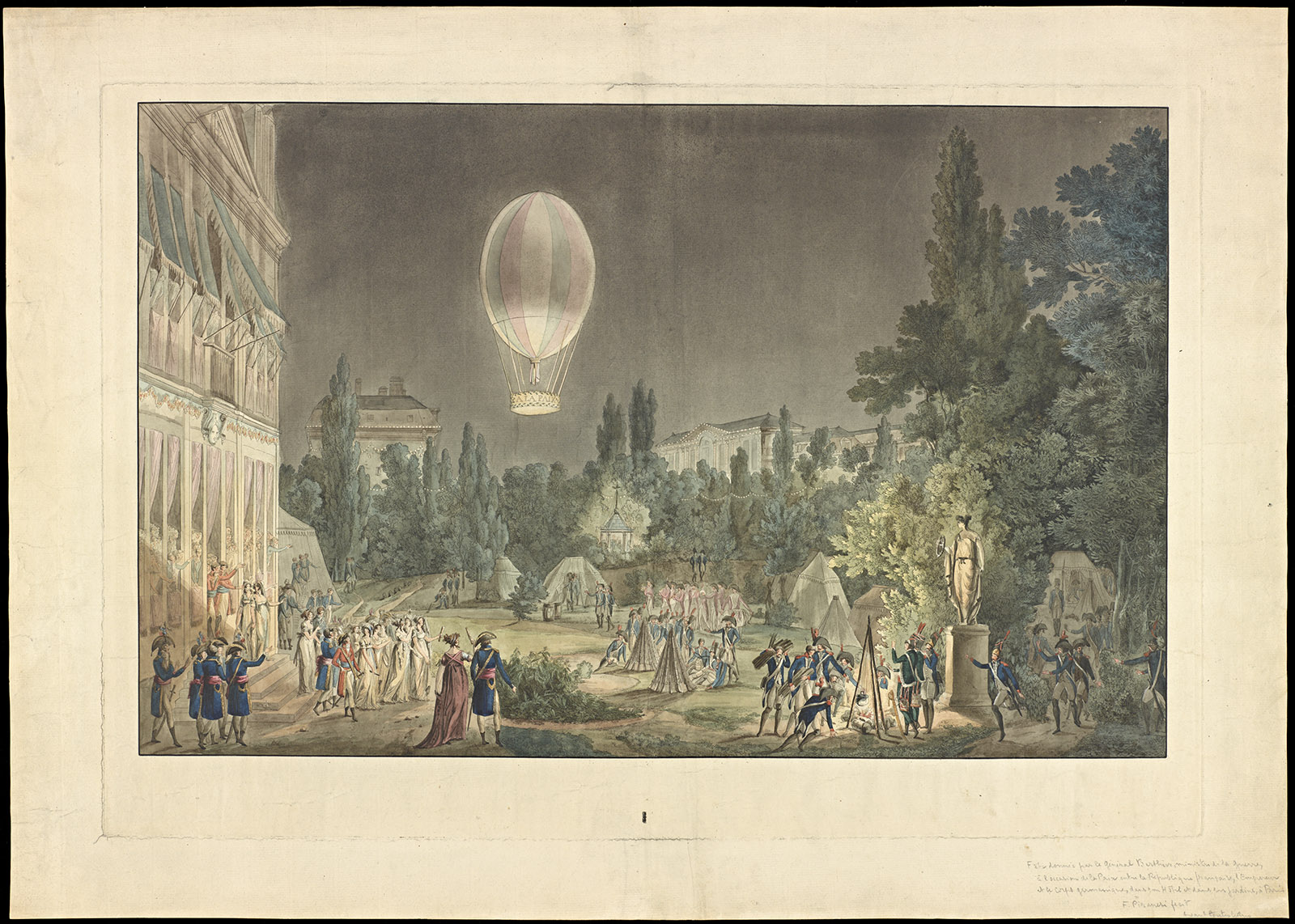 A print of a night scape featuring a hot air balloon.