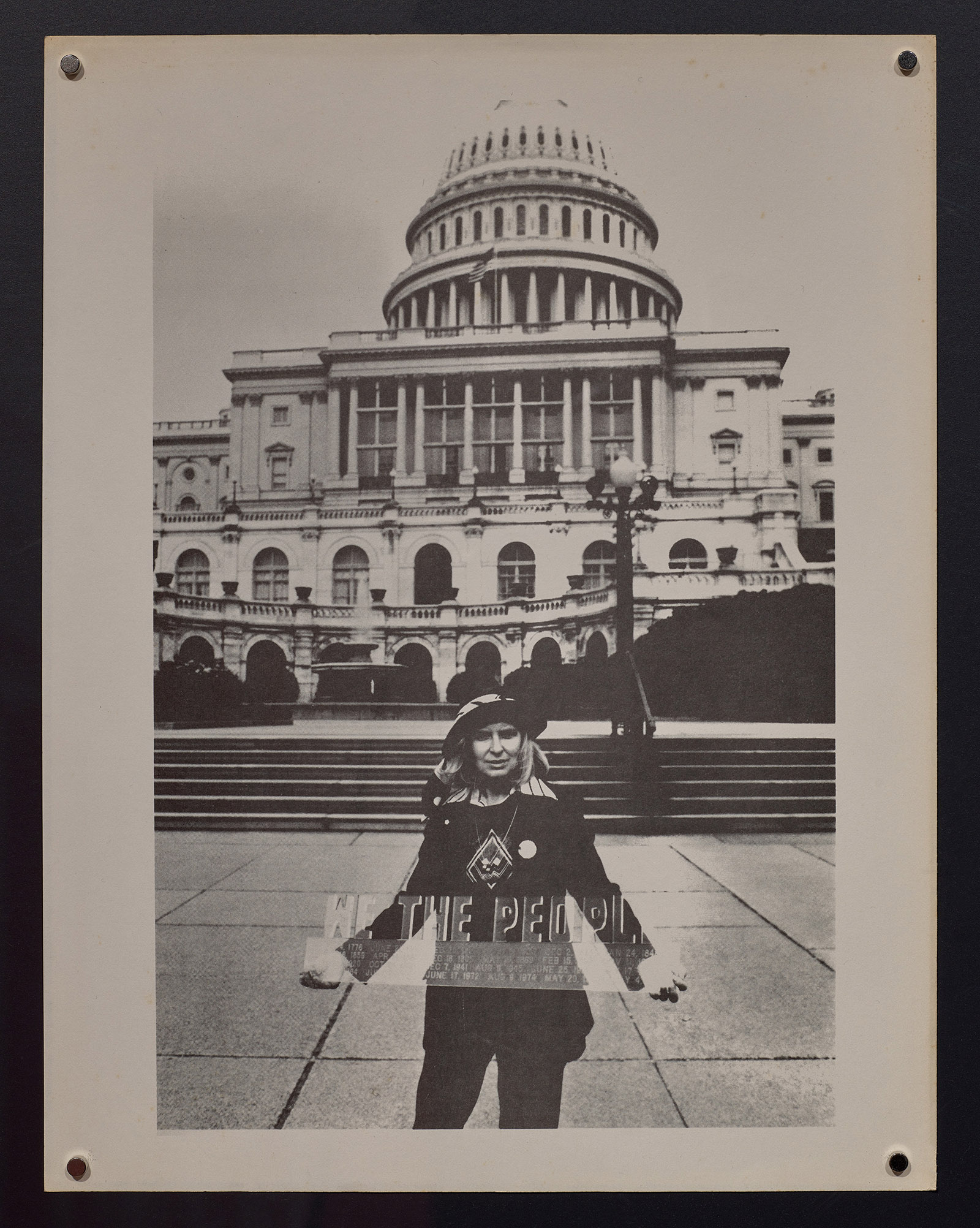 Joyce Cutler Shaw Holding Model of Proposed Monument in Front of the Capitol.