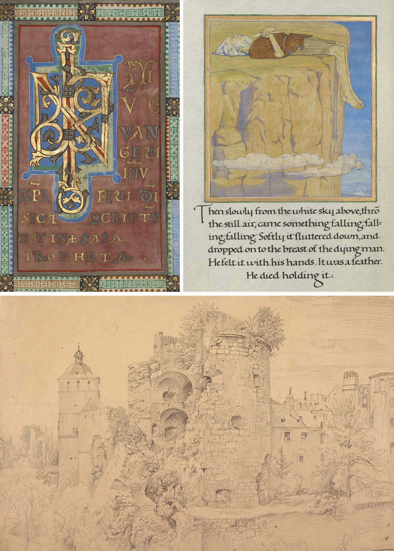 Three images. The top left is a fancy geometric design with gold leaf, the top right is an elderly man laying with his legs dangling over a cliff, and the bottom image is a drawing of a destroyed castle with trees growing on the ruins.