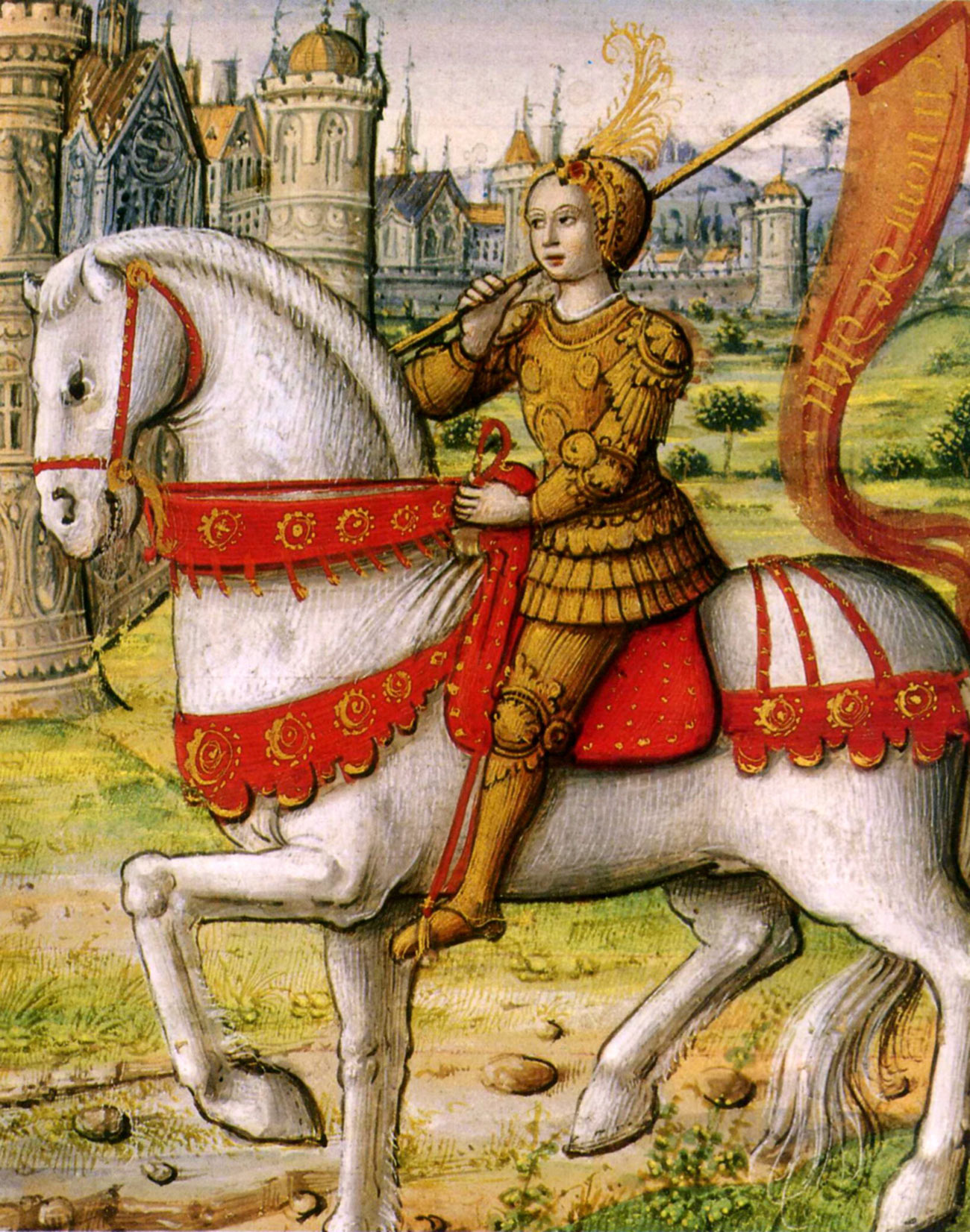 A young woman wearing golden armor and a golden helmet carries a red pennant bearing writing in gold and rides a white horse.