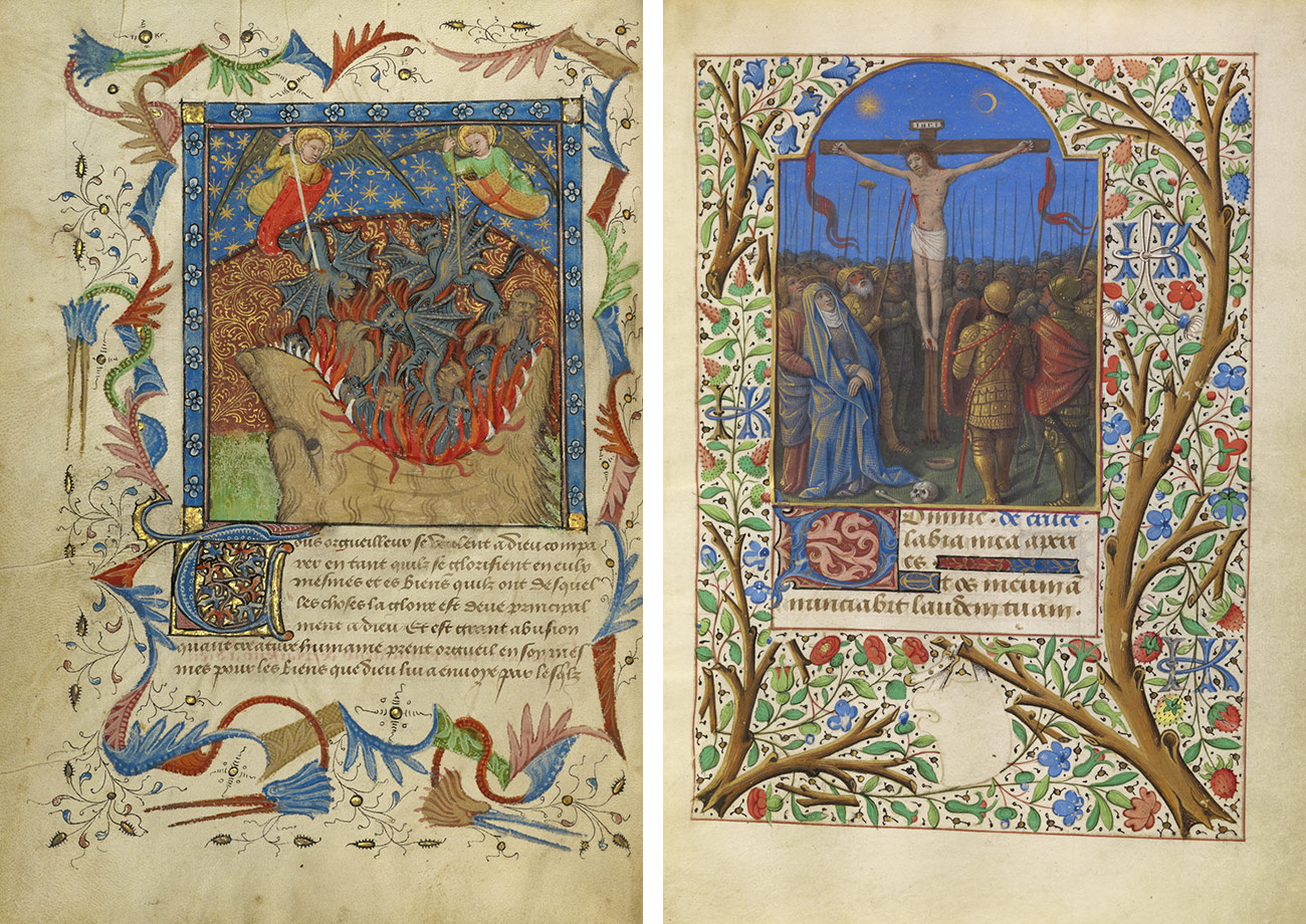 Left: Decorative flourishes surround a painting of two gold-winged angels using staffs to force winged blue-gray devils into the giant open mouth of a master with jagged white teeth. Right: A decorative frame of flowers and berries on tree limbs surrounds an image of the crucifixion in which an eclipse is depicted over Christ's outstretched left arm.