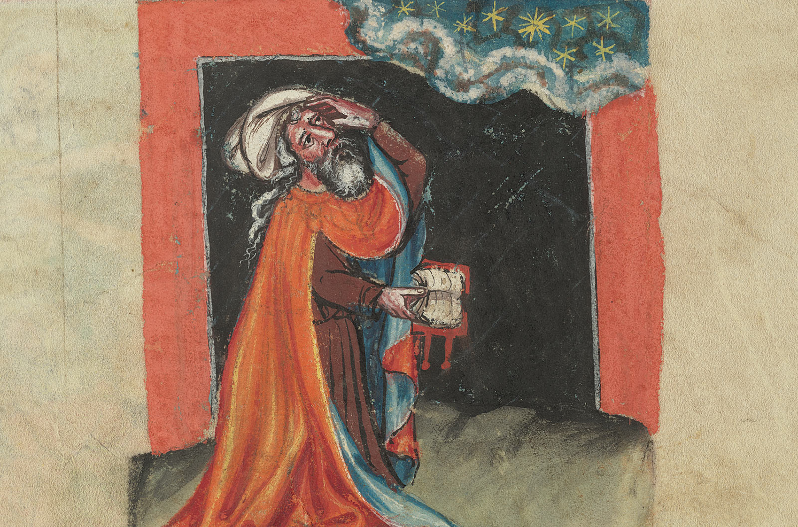 A bearded man wearing a white turban and orange cloak lined with blue holds his left hand to his head and a book in his right hand while he peers up at the sky.