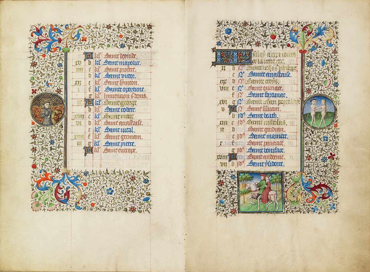 A two-page spread showing decorative borders with details of Saint George, a man dressed in armor, Gemini, nude twins facing each other on a field of green, and a male-female couple on horseback.