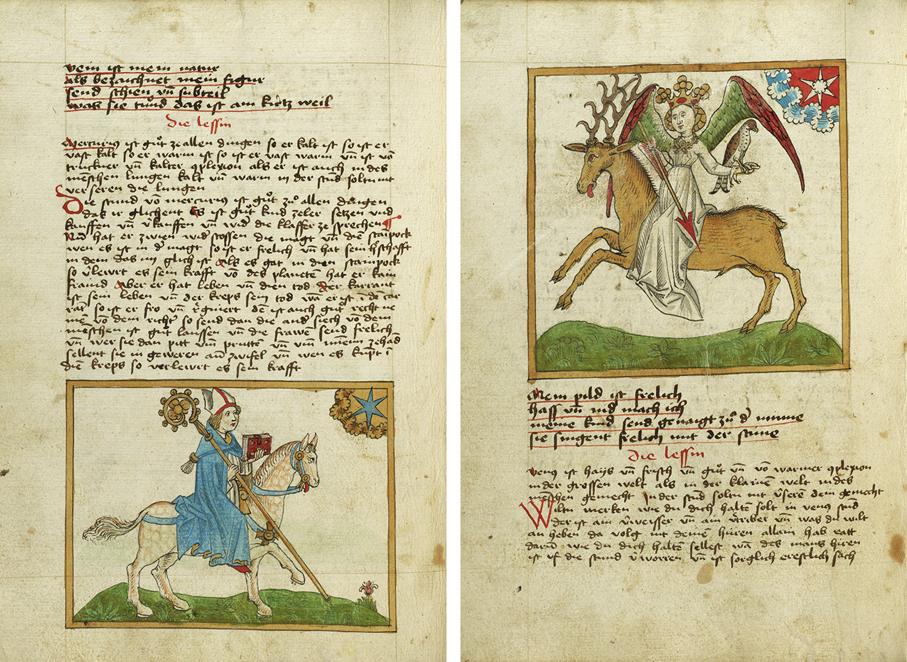 A two-page spread from a manuscript shows, on the left, a man wearing a blue robe and miter, and holding a red book in his left hand and a golden staff in his right, on a white horse facing a blue star; on the right, a woman with red and green wings and a golden crown rides a brown stag while holding a red arrow in her right hand and a large bird perches on her left forearm. Over her left shoulder is a white star against a red background.
