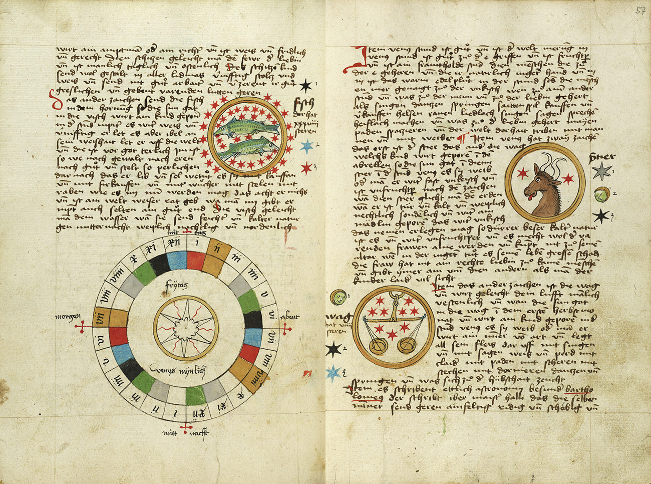 A two-page spread showing text in script and four illustrations: on the left, a drawing of two green fish surrounded by red stars enclosed in a gold circle and a wheel with colored squares that form a diagram for Friday; on the right, one gold circle encloses the head of a slender bull and two red stars and another encloses golden scales and nine red stars.