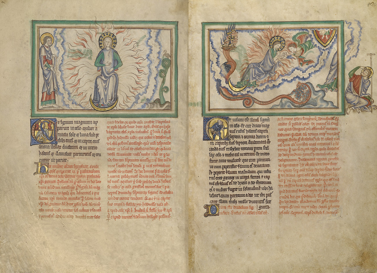 A two-page spread shows, on the left, a seated woman emanating light rays around her body with her feet resting on a gold crescent moon, and on the right, the same woman leans towards a winged figure, away from a red dragon with a long serpent-like tail on the left of the frame.