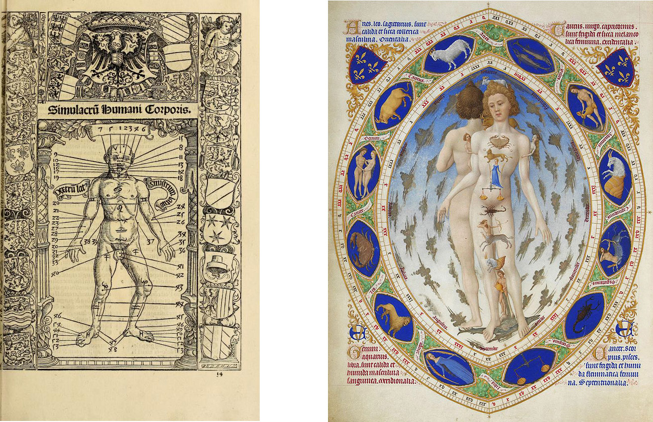 Left: A black-ink drawing of a nude male with lines pointing at various body parts and annotated with numbers is framed by crests and other decorations. Right: Framed by an oval in which the signs of the zodiac are depicted, two nude males stand back to back; the signs are repeated in a line on the body of the man facing the viewer.