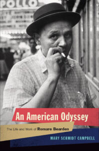 Book cover for An American Odyssey, featuring black and white portrait of Bearden.